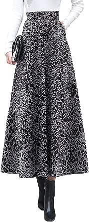 RIZ-ZOAWD Donna Elegante Modello Leopardo Lunga Caldo Gonna Svasata Vita Elastica Pieghe Vita Alta Gonne Autunno e Inverno Maxi Gonna a Ombrello