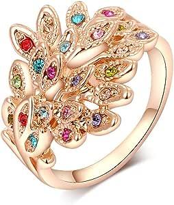 Anello da donna placcato in oro rosa 18 carati con pavone di cristallo colorato