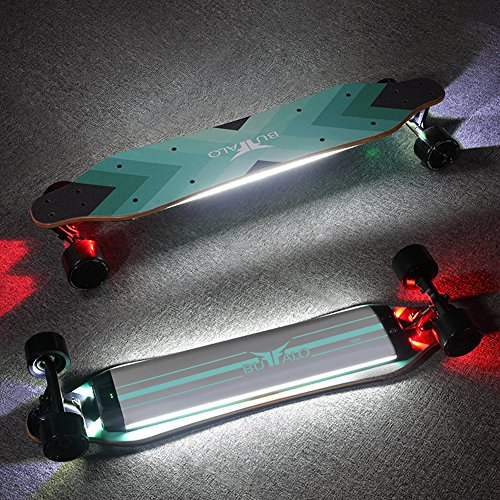 Buffalo eléctrica Dual Hub – Monopatín Longboard 25 MPH con luz LED  Bluetooth remoto Control 36 9dd19050481