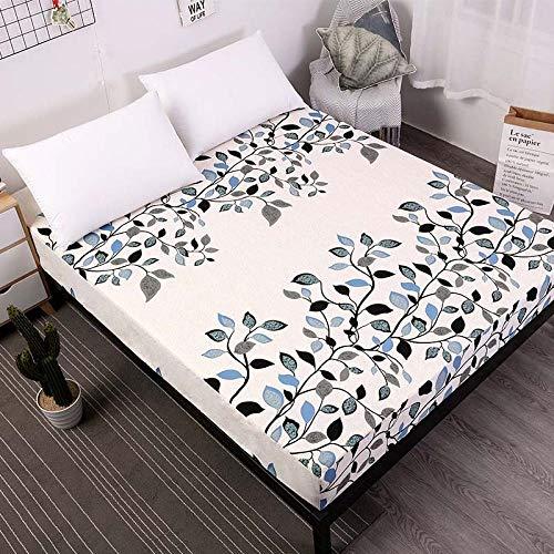 zlzty Bettlaken Mit Gummiband Blaue Blume Bedruckte Bettwäsche Matratzenbezüge Spannbettlaken-Sets, Einzelbettbezug, Bettzeug @ Leaf_180x200x25cm