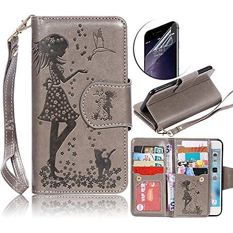 Sony Xperia Z5 Funda Libro PU Leather Cuero Suave Impresión Gris - Sunroyal Cover Carcasa Con Ultra Slim Flip Case para Sony Xperia Z5 5.2