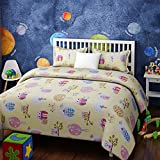 RAGO KIDS OWL AND TREES GREEN AND TURQUOISE BEDSHEET SET (Twin Extra-Long)