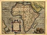 Reproduction Abraham Ortelius couleur vintage carte de l'Afrique 43x 33cm