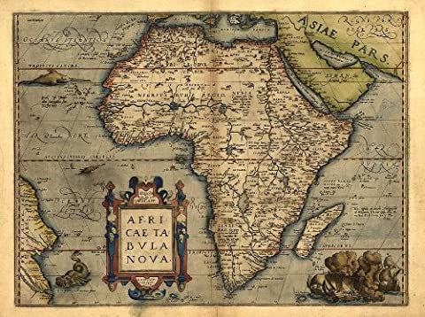 OFA Mapping Reproduction de la carte de l'Afrique couleur Vintage 43 x 33 cm