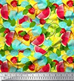 Soimoi Rosa japanischer Kreppsatin Stoff Zitronenscheibe,