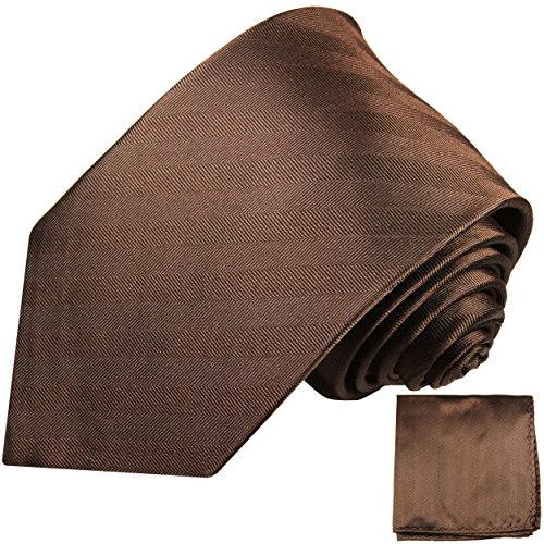Cravate homme marron uni rayée ensemble de cravate 2 Pièces ( 100% Soie Cravate + Mouchoir )