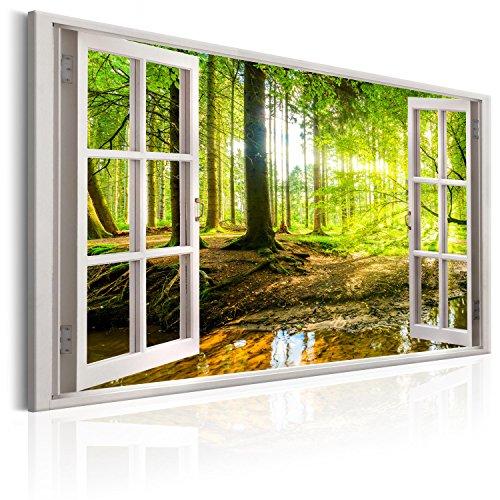 murando - Bilder Fensterblick 120x80 cm Vlies Leinwandbild 1 TLG Kunstdruck modern Wandbilder XXL Wanddekoration Design Wand Bild - Fenster Wald grün c-C-0084-b-a