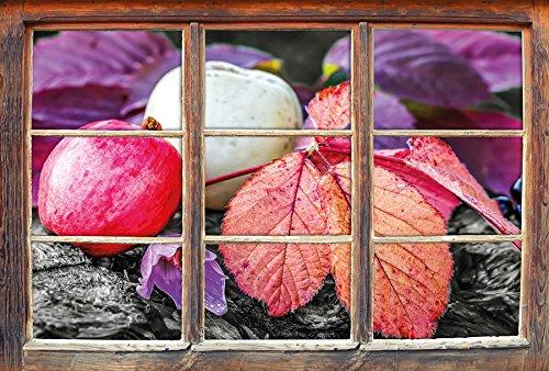 Äpfel und Blätter im Herbst B&W Detail Fenster im 3D-Look, Wand- oder Türaufkleber, Wandsticker, Wandtattoo, Wanddekoration