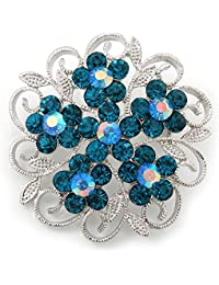 Azul cristal broche Floral de filigrana en rodio chapado - 43 mm de diámetro