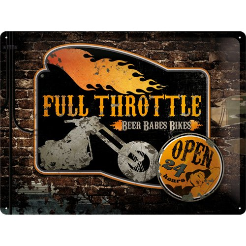 Nostalgic Art 23141 - Targa da appendere, soggetto: Biker's Corner Full Throttle, 30 x 40 cm - Throttle Interno