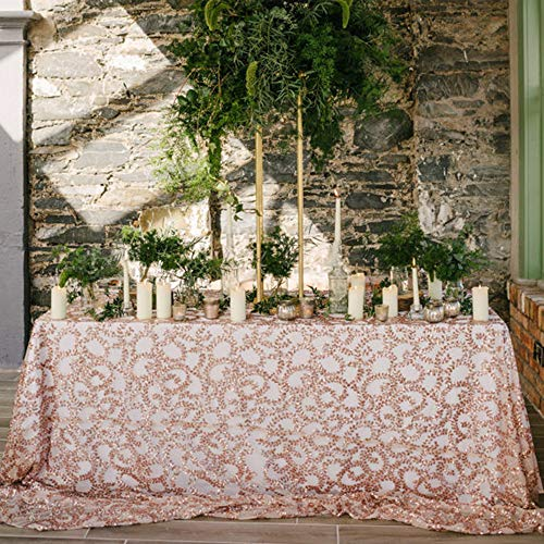 BalsaCircle Tischdecke mit Pailletten, rechteckig, 90 x 132 cm A+rose Gold Flower
