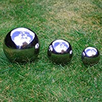Set of Three Stainless Steel Spheres 6.5, 9 & 13cm Mirror Finish Gazing Ball Ornaments