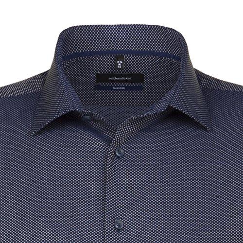 SEIDENSTICKER Herren Hemd Tailored 1/1-Arm Bügelleicht Uni / Uniähnlich City-Hemd Kent-Kragen Kombimanschette weitenverstellbar dunkelblau (0018)