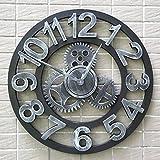 ZWL Gear Clock Personalisierte Uhren Industrial Wind Mute Retro Kreative Uhr Kunst Uhr Wohnzimmer Persönlichkeit Industrie Holz Technologie 40CM fashion ( Farbe : A )