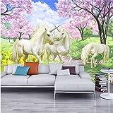LHDLily 3D Tapete 3D Wallpaper Fresken Wandbilder Verdicken Benutzerdefinierte Einhorn Traum Cherry Blossom Tv Hintergru