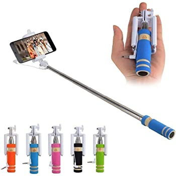 Classytek Selfie Stick Mini With Aux Cable for all Smartphones, Multicolor