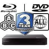 SONY BDP-S3700 smart wifi Multi Region-Free All Zone Blu-ray Player. Blu-ray Zones A, B and C, DVD Regions 1 - 8
