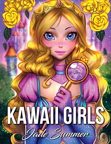 Kawaii Girls: An Adult Coloring Book with Adorable Anime Portraits, Cute Fantasy Women, and Fun Fashion Designs (Relaxation Gifts) -