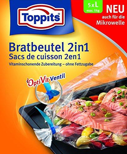 Toppits® Bratbeutel 2in1 mit OptiVit Ventil (5 Stück / Grösse L - 35 x 43 cm - bis max. 5 kg) MIKROWELLEN GEEIGNET