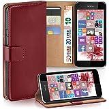 Nokia Lumia 530 Hülle Dunkel-Rot mit Karten-Fach [OneFlow 360° Book Klapp-Hülle] Handytasche Kunst-Leder Handyhülle für Nokia Lumia 530 Dual SIM Case Flip Cover Schutzhülle Tasche