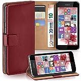 moex Nokia Lumia 530   Hülle Dunkel-Rot mit Karten-Fach 360° Book Klapp-Hülle Handytasche Kunst-Leder Handyhülle für Nokia Lumia 530 Dual SIM Case Flip Cover Schutzhülle Tasche