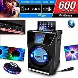 Altavoz Karaoke xd30a Bluetooth LEDs azules 600W 3Vías) + Micro + efecto OVNI