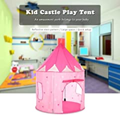 Play House - Portable Foldable Luminous Cubby House Castle Play Tent with Carry Case - Your Baby Will Enjoy This Foldable Playhouse for Indoor & Outdoor Use by Shuban - Pink & White Color