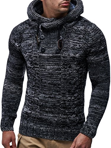 LEIF NELSON Herren Pullover Hoodie Kapuzenpullover Strickpullover Longsleeve Sweater Sweatshirt Pulli LN20227; Gr_¤e 4XL, Schwarz