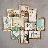 levandeo Bilderrahmen Collage 50x55cm Kupfer Schwarz Industrial Industrie 10 Fotos 10x15cm Deko Glasscheiben
