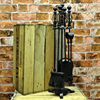 """28"""" Black Metal Fireside Companion Set with Fireside Tools with Cage Twist Handles"""