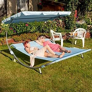 Loywe chaise longue double chaise longue avec toit pour 2 for Chaise longue pour 2 personnes