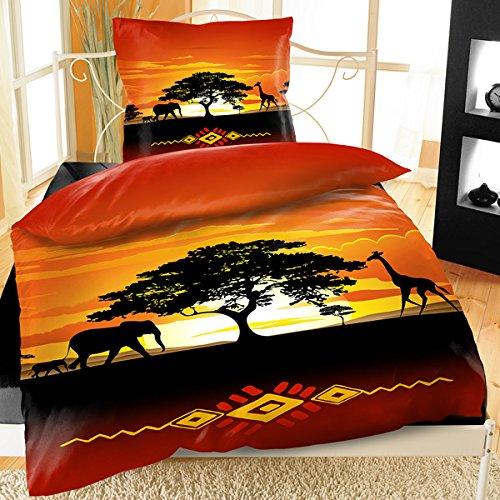 Bertels Textilhandels GmbH Mikrofaser Bettwäsche 4 Teilig 135x200 cm Afrika Tiere Sonnenuntergang