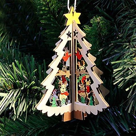 Lanlan Anhänger Kleinen Verzierungen aus Holz 3D Creative Home Party Weihnachten Weihnachtsbaumschmuck Christmas Tree