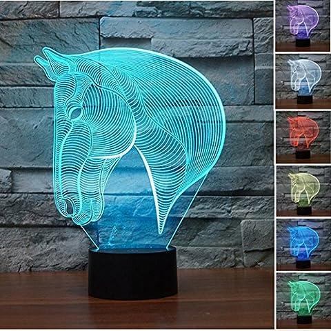 Lampe 3D Illusion Lumières de la nuit,KINGCOO réglable 7 couleurs