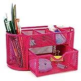 BTSKY - Porta oggetti da scrivania a 9scomparti multi-funzionale, salvaspazio per ufficio, contenitore per cancelleria con cassettino portaoggetti, struttura a rete Rose red