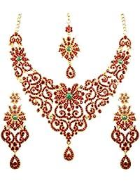 Touchstone Sparkling Austrian Diamonds Alloy Metal Necklace Set With Maangtika For Women