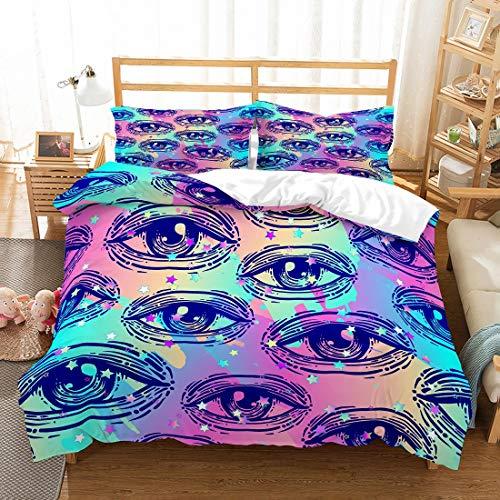 MOUMOUHOME 3D Augen Gedruckt Bettwäscheset Schwarze Augen Lila/Rosa/Blau/Weiß Funkelnde Sterne Tagesdecke Rainbow 3 STÜCKE Bettwäscheset,Keine Bettdecke,230x220cm -