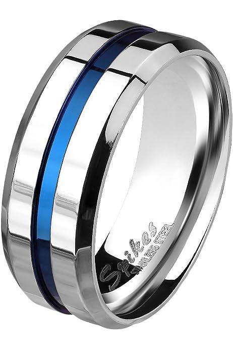 Bungsa 52 (16.6) Titan Ring Silber blau Titanium Ring mit