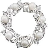 HAISWET Broche brillante para boda y broche elegante con circonitas cúbicas y perlas artificiales. Bisutería de moda