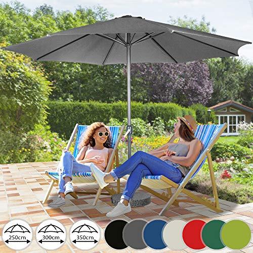 Sonnenschirm in Ø 2.5m / Ø 3m / Ø 3.5m | in Farbwahl aus Stahlrohr und Wasserabweisender Schirmbezug, mit Kurbel | Marktschirm, Gartenschirm, Terrassenschirm, Ampelschirm, Strandschirm, Sonnenschutz für Balkon, Garten, Terrasse (3m, Coal)