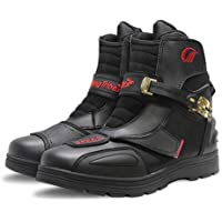 10 UK MRDEAR Motorcycle Shoes Mens Womens Sports Shoes Breathable Lightweight Running Shoes Biker Motorbike Boots Short Ankle for Walking Training Fitness Red and Black