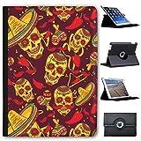 Fancy A Snuggle Dekorierte Totenköpfe mit Sombreros & Maracas Case Cover/Folio aus Kunstleder für Das Apple iPad AIR 2 (2nd Generation)