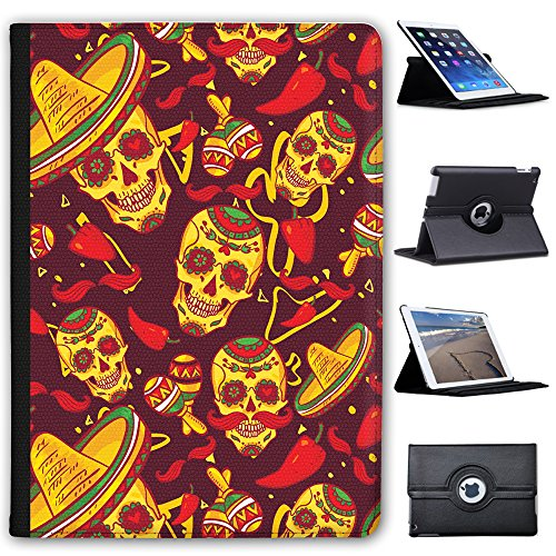 El Dia De Los Muertos Messico Giorno dei Morti Custodia a Libro in finta pelle con funzione di supporto per Apple iPad Tablet nero Skulls In Sombreros & Maracas Apple iPad Pro 9.7