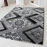 Moderner Kurzflor Teppich Designer Versace Muster Beige Braun Creme & Schwarz Grau Weiß Wohnzimmer (120 x 170 cm, Schwarz)