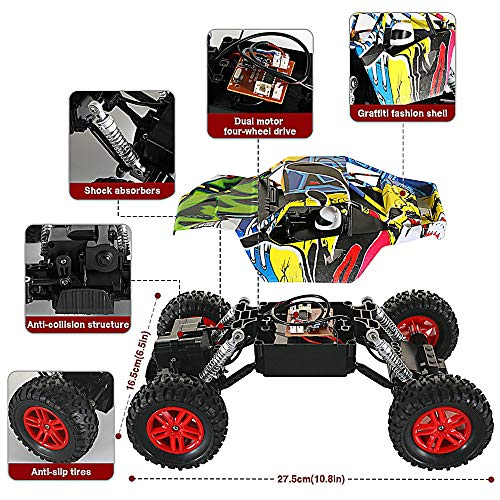 RC Auto kaufen Monstertruck Bild 3: GoStock Ferngesteuertes Auto Elektro Offroad RC Lastwagen 1:18 2,4 Ghz 4WD Off Road Monstertruck Rock Crawler*
