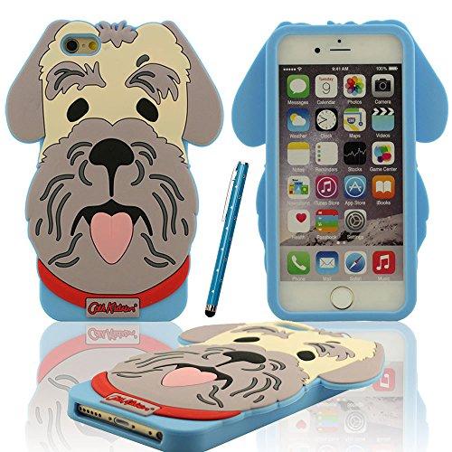 iPhone 6S Plus Coque Case Doux Silicone Plastique Gel Housse de Protection Charmant Caniche Chien Forme Etui Apple iPhone 6 Plus 6S Plus 5.5 inch ( Rose ) X 1 stylet bleu