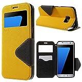   Handyschutz in Perfektion   Ultra Slim Premium Flip Cover Tasche Schutz Hülle mit Silikon Innen Schale Original Roar Fancy Case Für Samsung Galaxy S7 Gelb