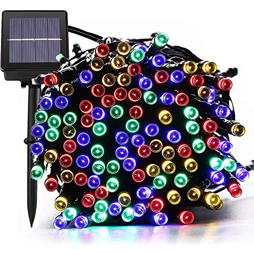 Outdoor Solar String lights, Waterproof 200 LED Fairy Lighting String for Christmas, Home, Garden, Yard, Porch, Tree, Party, Holiday Decoration - Multi Colour, 72FT, 8-in-1 Mode