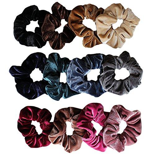 Set aus 12 elastischen Samt-Haarbändern Hairbands Hairtie Set von Kurtzy - braun, grau, blau,...