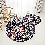 Teppich Chinesische Drachen Und Phoenix Muster Runde Teppich Wohnzimmer Hängende Decke Retro Zimmer Computer Swivel Teppich (Farbe : #2, größe : Diameter-150CM)